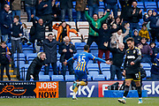 Shrewsbury Town striker Stefan Payne (45) scores a goal and celebrates to make the score 1-0 during the EFL Sky Bet League 1 match between Shrewsbury Town and AFC Wimbledon at Greenhous Meadow, Shrewsbury, England on 24 March 2018. Picture by Simon Davies.
