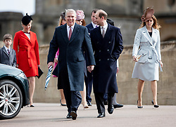 WINDSOR - UK - 27th Mar 2016: HM Queen Elizabeth, accompanied by HRH The Duke , The Duke and members of the royal family attends the annual Easter Sunday service at St George's Chapel in the grounds of Windsor Castle.<br /> Prince Andrew leads<br /> <br /> <br /> Photograph by Ian Jones.