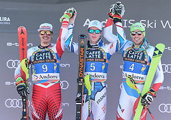 17.03.2019, Soldeu, AND, FIS Weltcup Ski Alpin, Slalom, Herren, Siegerehrung, Tageswertung, im Bild v.l. 2. Platz Manuel Feller (AUT), 1. Platz Clement Noel (FRA), 3. Platz Daniel Yule (SUI) // f.l. second placed Manuel Feller of Austria winner Clement Noel of France and third placed Daniel Yule of Switzerland during the winner ceremony for the day victory of men's Slalom of FIS Ski Alpine World Cup finals. Soldeu, Andorra on 2019/03/17. EXPA Pictures © 2019, PhotoCredit: EXPA/ Erich Spiess