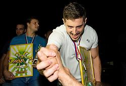 Matevz Skok of RK Celje celebrates after winning during handball match between RK Celje Pivovarna Lasko and RK Gorenje Velenje in 3rd Round of Final of 1st NLB League and Slovenian National Handball Championship 2014/15, on May 28, 2015 in Arena Zlatorog, Celje, Slovenia. RK Celje Pivovarna Lasko won 3rd time and became Slovenian National Champion 2015. Photo by Vid Ponikvar / Sportida