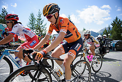 Megan Guarnier on her way to fourth at La Course 2017 - a 67.5 km road race, from Briancon to Izoard on July 20, 2017, in Hautes-Alpes, France. (Photo by Sean Robinson/Velofocus.com)