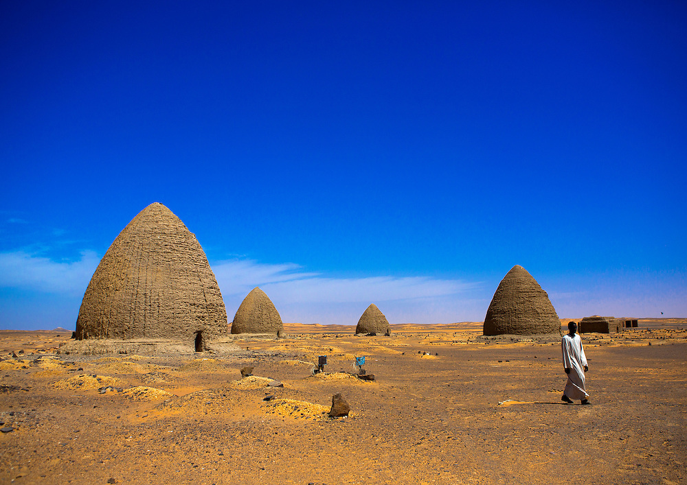 Beehive tombs, Old Dongola, Sudan.  Made of bricks, the tombs contain religious dignitaries and appear in the desert in groups of ten.