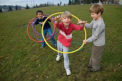 United States, Washington, Bellevue, girls (age 8) in school playground