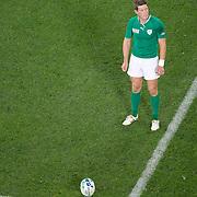Ronan O'Gara, Ireland, kicks a penalty during the Ireland V Italy Pool C match during the IRB Rugby World Cup tournament. Otago Stadium, Dunedin, New Zealand, 2nd October 2011. Photo Tim Clayton...