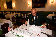 Mr. Bauer doing the seating for lunch at the Goldener Hirsch.  Matinee at the Grosses Festpielhaus followed by lunch at Schloss Aigen.  Amadeus Weekend. Salzburg. 23 August 2008.  *** Local Caption *** -DO NOT ARCHIVE-© Copyright Photograph by Dafydd Jones. 248 Clapham Rd. London SW9 0PZ. Tel 0207 820 0771. www.dafjones.com.