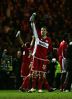Photo: Jed Wee.<br /> Middlesbrough v FC Basle. UEFA Cup. Quarter-Final. 06/04/2006.<br /> <br /> Middlesbrough's Stuart Parnaby celebrates.