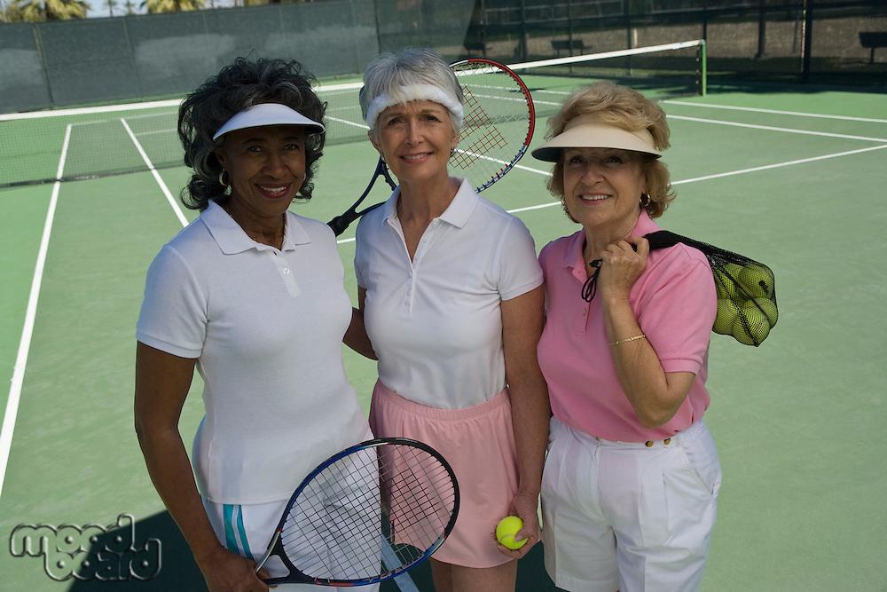 Three female tennis players, portrait
