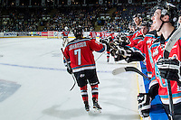 KELOWNA, CANADA - OCTOBER 31: The Kelowna Rockets celebrate a goal against the Lethbridge Hurricanes on October 31, 2015 at Prospera Place in Kelowna, British Columbia, Canada.  (Photo by Marissa Baecker/Shoot the Breeze)  *** Local Caption *** Lucas Johansen; Nick Merkley; Devante Stephens; Calvin Thurkauf;