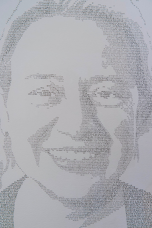 Natalie Bennett, leader of the Green Party, unveils portraits of the five main UK party leaders, hand-written from Twitter opinions by artist Annemarie Wright. The portraits are of David Cameron, Ed Miliband, Nick Clegg, Nigel Farage and Natalie Bennett, who is the local Green Party candidate for Holborn and St Pancras. Each portrait takes her 30-40 hours to create, using varying thickness of pens. Woolff Gallery, Charlotte Street, London.