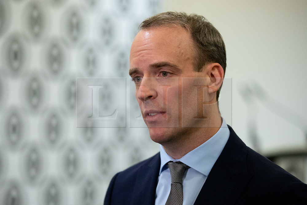 © Licensed to London News Pictures. 14/01/2019. London, UK. Former Secretary of State for Exiting the European Dominic Raab speaks to media after making a speech on the UK after Brexit, to the Centre for Policy Studies at Church House, Westminster. Tomorrow, MPs are due to vote on British Prime Minister Theresa May's EU withdrawal deal, after the previous vote in December was postponed. Photo credit : Tom Nicholson/LNP
