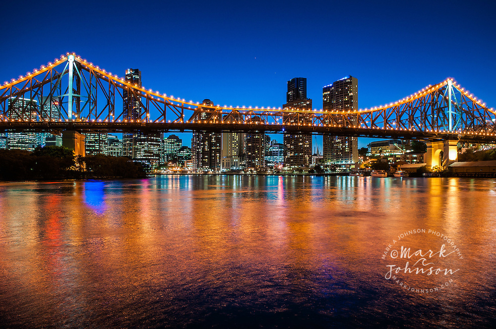 Brisbane City & Story Bridge spanning the Brisbane River, Queensland, Australia