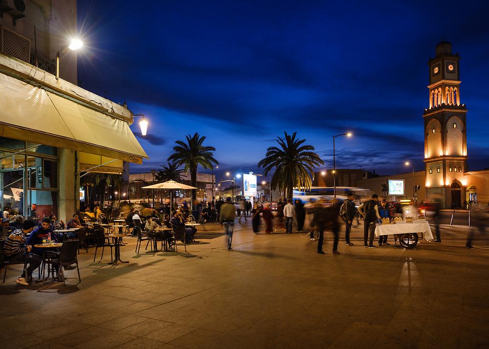 CASABLANCA, MOROCCO - CIRCA APRIL 2017: Boulevard Mohammed V and Clock Tower  in Casablanca at night.