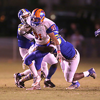 North Pontotoc's Hunter West gains yards against the Booneville defense in the first quarter.