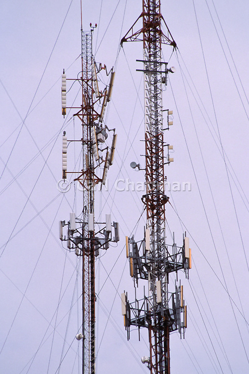 Cellular antennas on guyed towers in Buenos Aires, Argentina.