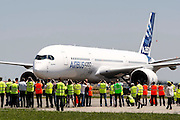 European aviation giant Airbus's next-generation A350 plane landing on its first test flight in Toulouse, France