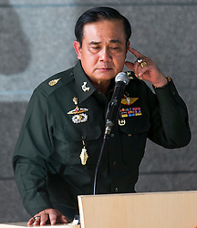 ***LNP HIGHLIGHTS OF THE WEEK *** © Licensed to London News Pictures. 20/05/2014. Thai Army chief General Prayut Chan-O-Cha makes a gesture during a press conference at the Army Club in Bangkok after martial law was declared on May 20, 2014 in Bangkok, Thailand. The army imposed martial law across Thailand amid a deepening political crisis, in Bangkok Thailand.  Photo credit : Asanka Brendon Ratnayake/LNP