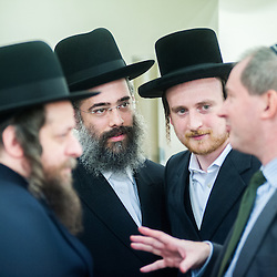 London, UK - 3 December 2014: Mr Stephen Williams MP, Parliamentary Under Secretary of State for Communities and Local Government, speaks to members of the Jewish community as He visits the Talmud-Torah Yetev-Lev orthodox Jewish school in Hackney, London