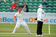 Lancashire's Simon Kerrigan appeals to the umpire for a \Somerset's Chris Rogers runout during the Specsavers County Champ Div 1 match between Somerset County Cricket Club and Lancashire County Cricket Club at the County Ground, Taunton, United Kingdom on 3 May 2016. Photo by Graham Hunt.
