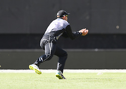New Zealand's Tom Bruce takes a running catch to dimiss Pakistan's Faheem Ashraf for 7 off the bowling of Tim Southee in the first T20 International Cricket match, Westpac Stadium, Wellington, New Zealand, Monday, January 22, 2018
