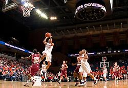 Virginia forward Lyndra Littles (1) shoots over Boston Coll. guard Brittanny Johnson (22).  The #21 ranked Virginia Cavaliers defeated the Boston College Eagles 90-70 at the John Paul Jones Arena in Charlottesville, VA on February 22, 2009.