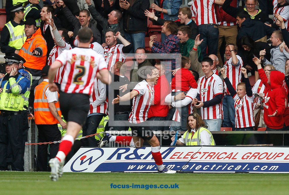 Picture by Daniel Chesterton/Focus Images Ltd. 07966 018899.07/04/12.Billy Sharp of Southampton celebrates after scoring Southampton's first goal during the Npower Championship match at St Mary's Stadium, Southampton.