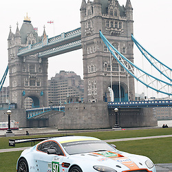 Aston Martin Racing's Vantage V8  at the FIA-WEC series launch situated in Potters Fields overlooking Tower Bridge, London on the 22nd March 2013. WAYNE NEAL | STOCKPIX.EU