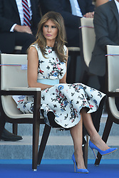 First Lady Melania Trump attends the annual Bastille Day military parade on the Champs-Elysees avenue in Paris on July 14, 2017. Photo by Lionel Hahn/ABACAPRESS.com