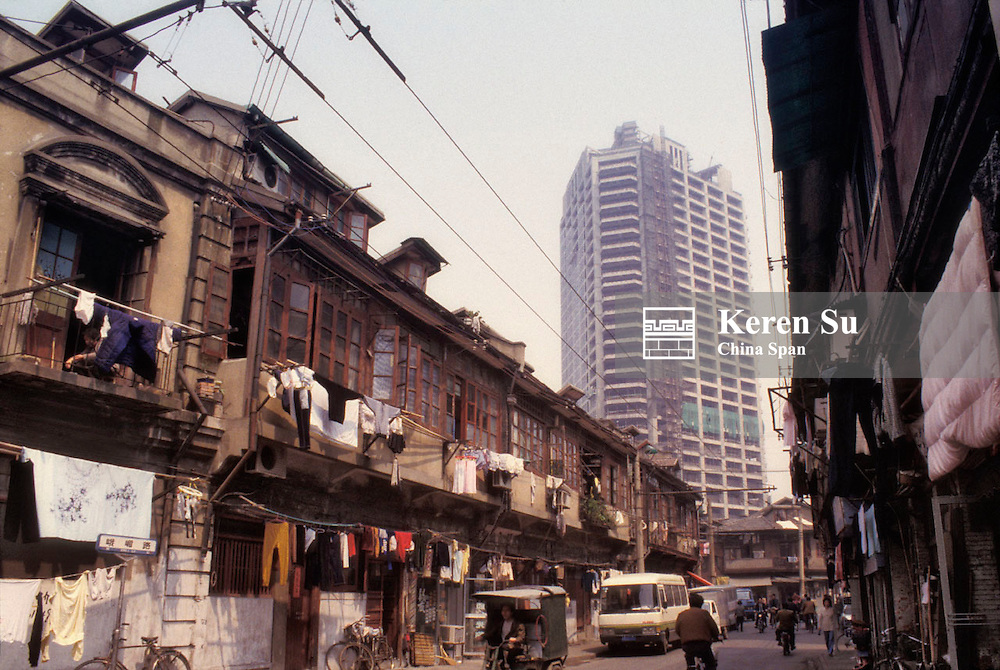 Old residential area with new highrise apartment buildings, Shanghai, China