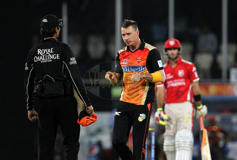Dale Steyn of the Sunrisers Hyderabad speaks with umpire during match 39 of the Pepsi Indian Premier League Season 2014 between the Sunrisers Hyderabad and the Kings XI Punjab held at the Rajiv Gandhi Cricket Stadium, Hyderabad, India on the 14th May  2014<br /> <br /> Photo by Vipin Pawar / IPL / SPORTZPICS<br /> <br /> <br /> <br /> Image use subject to terms and conditions which can be found here:  http://sportzpics.photoshelter.com/gallery/Pepsi-IPL-Image-terms-and-conditions/G00004VW1IVJ.gB0/C0000TScjhBM6ikg