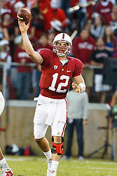 November 6, 2010; Stanford, CA, USA;  Stanford Cardinal quarterback Andrew Luck (12) throws a pass against the Arizona Wildcats during the first quarter at Stanford Stadium.
