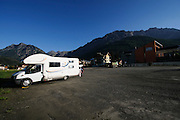 motor home vacation Dolomites, Italy camper on the trail