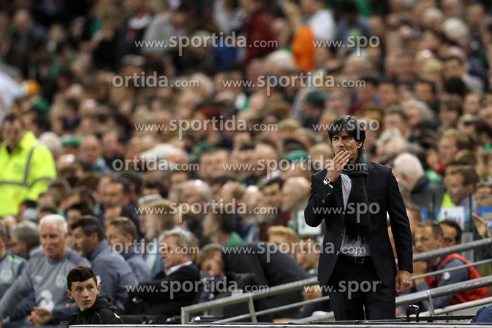 08.10.2015, Avia Stadium, Dublin, IRL, UEFA Euro Qualifikation, Irland vs Deutschland, Gruppe D, im Bild Bundestrainer Joachim ?Jogi? Loew enttaeuscht // during the UEFA EURO 2016 qualifier group D match between Ireland and Germany at the Avia Stadium in Dublin, Ireland on 2015/10/08. EXPA Pictures &copy; 2015, PhotoCredit: EXPA/ Eibner-Pressefoto/ Risto Bozovic<br /> <br /> *****ATTENTION - OUT of GER*****