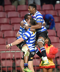 Cape Town-180921- Wastern Province celebrates Sergel petersen's try against  Tafel lager Griquas in the Currie Cup Game played at Newlands Stadium .Photographs:Phando Jikelo/African News Agency/ANA