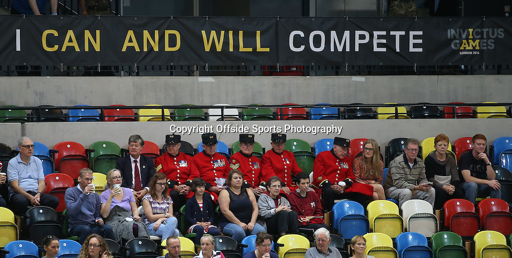 12 September 2014 - Invictus Games Day 2 - Chelsea Pensioners sit under a banner reading ' I Can And Will Compete '.<br /> <br /> Photo: Ryan Smyth/Offside