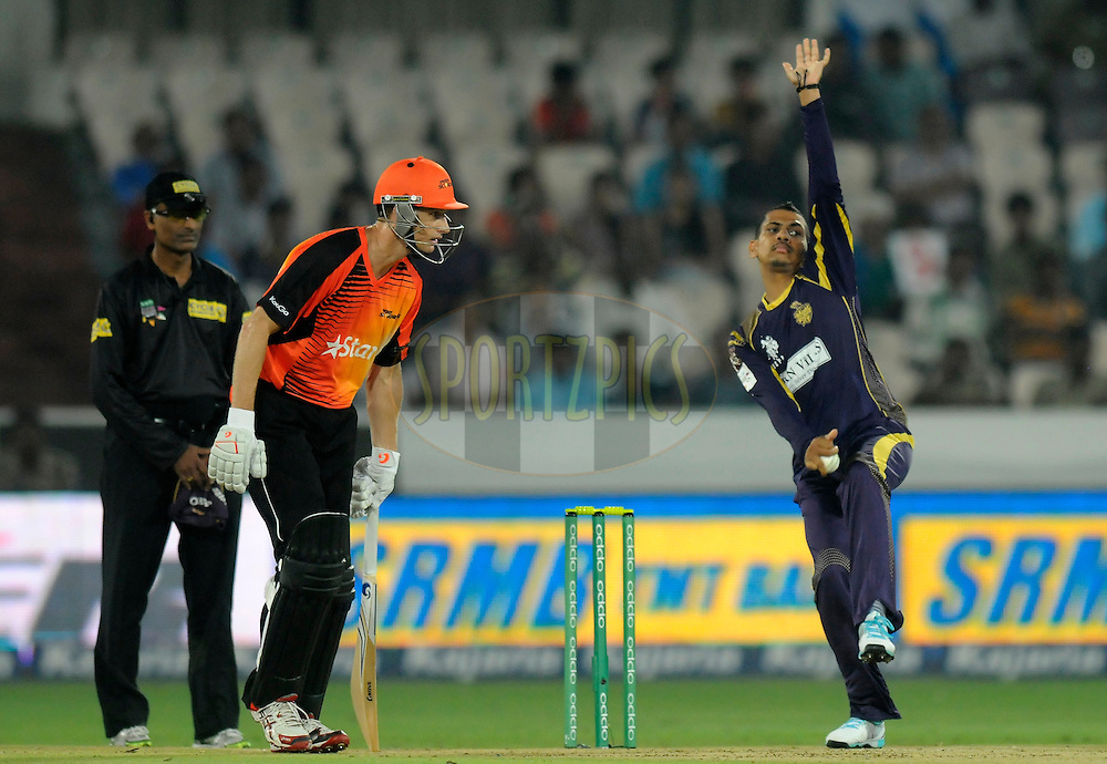 Sunil Narine of Kolkata Knight Riders bowls during match 10 of the Oppo Champions League Twenty20 between the Kolkata Knight Riders and the Perth Scorchers held at the Rajiv Gandhi Cricket Stadium, Hyderabad, India on the 24th September 2014<br /> <br /> Photo by:  Pal Pillai / Sportzpics/ CLT20<br /> <br /> <br /> Image use is subject to the terms and conditions as laid out by the BCCI/ CLT20.  The terms and conditions can be downloaded here:<br /> <br /> http://sportzpics.photoshelter.com/gallery/CLT20-Image-Terms-and-Conditions-2014/G0000IfNJn535VPU/C0000QhhKadWcjYs