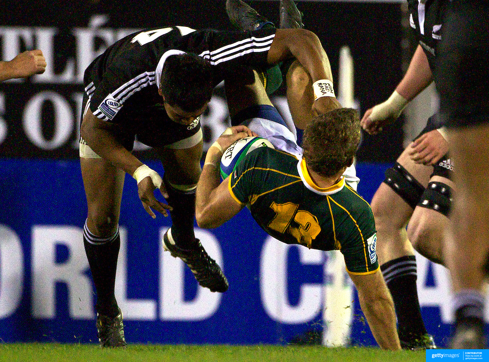 Julian Savea, New Zealand, tackles Branco Du Preez, South Africa during the New Zealand V South Africa semi final match at Estadio El Coloso del Parque, Rosario, Argentina, during the IRB Junior World Championships. 17th June 2010. Photo Tim Clayton....