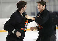 1/4/07 Omaha , IN  -- USHL Omaha Lancer players Keir Ross (right) practices fighting with Cory Toy at the end of practice.<br /> (Chris Machian/Prairie Pixel Group)