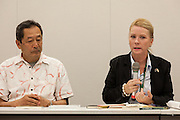 "Rape Survivor and activist, Catherine ""Jane"" Fisher (right) with ex SDP politician, Ryoichi Hattori (left) at a press conference to publicise her book  in the First Office Building of the Members of the House of Representatives, Nagatacho, Tokyo, Japan, Friday July 18th 2014. Ms Fisher was raped near Yokosuka US Naval Base in Kanagawa in 2002 and has been campaign for the rights of rape victims in Japan since after finding the US Military and Japanese police obstructive and uninterested in bringing her attacker to justice."