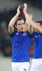 LILLE, FRANCE - Thursday, October 23, 2014: Everton's Leighton Baines applauds the supporters after the goalless draw with Lille OSC during the UEFA Europa League Group H match at Stade Pierre-Mauroy. (Pic by David Rawcliffe/Propaganda)
