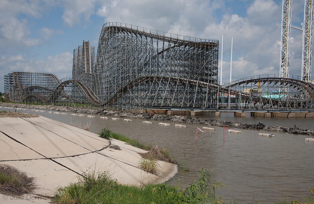 August, 24, 2008, Roller coaster at Six Flags Amusement Park in Eastern New Orleans, destroyed by Hurricane Katrina.