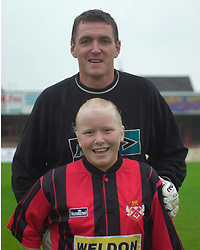 MASCOT WITH IAN BOWING, Kettering Town v Leicester City Fiendly, Rockingham Road 2nd August 2001