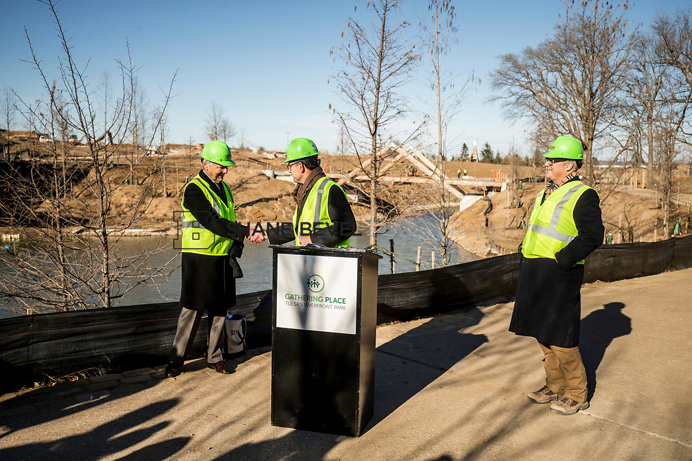 1/12/18 11:11:16 AM -- Halliburton CEO Jeff Miller and George Kaiser visit the Gathering Place for a press conference announcing Halliburton's support for the park. <br /> <br /> Photo by Shane Bevel