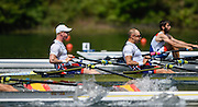 Lucerne, SWITZERLAND<br /> <br /> NOR M2X. Bow. Kjetil BORCH and Olaf TUFTE, at the start. 2016 European Olympic Qualifying Regatta, Lake Rotsee.<br /> <br /> Sunday  22/05/2016<br /> <br /> [Mandatory Credit; Peter SPURRIER/Intersport-images]