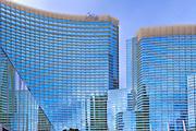Aria, Hotel, Casino, Resort, CityCenter, Hi-Rise, Las Vegas, NV; Nevada; Vertical; Resort, Hospitality, Strip; gambling; shopping, Sunrise, Blue Sky, Travel, Destination, View, Unique, Quality HDR