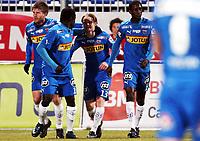 Fotball , 18. oktober 2009 ,  Tippeligaen , Eliteserien ,  <br /> <br /> Sandefjord - Lillestrøm 2-2<br /> <br /> Ørjan Røyrane , har scoret for Sandefjord , Her sammen med Malick Mane , Ebrima Sohna og Erik Mjelde