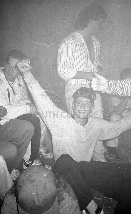 Group of ravers at a party, UK, 1980s