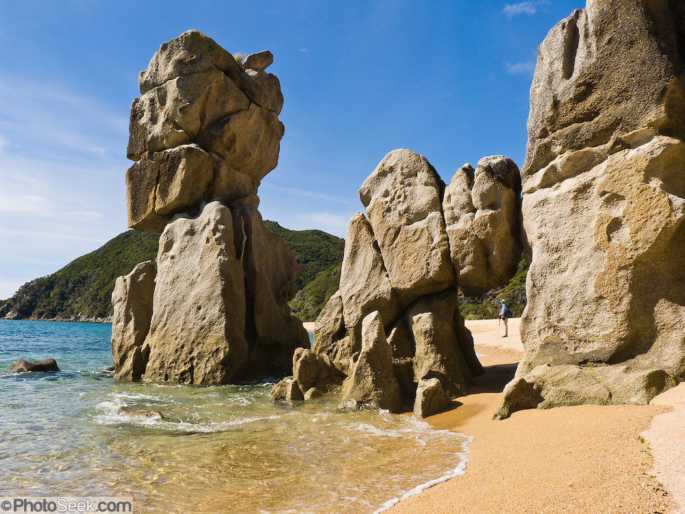 Anapai Beach sea stacks, Abel Tasman National Park, South Island, New Zealand