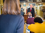 08 JANUARY 2020 - NEVADA, IOWA: Former Governor WILLIAM WELD (R-MA) talks to Iowans during a campaign stop at Farm Grounds, a coffee shop in Nevada, IA. Weld, who was a two term Republican Governor of Massachusetts, is campaigning in Iowa in support of his primary challenge of Republican incumbent President Donald Trump.         PHOTO BY JACK KURTZ
