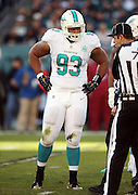 Miami Dolphins defensive tackle Ndamukong Suh (93) looks at the officials during the 2015 week 10 regular season NFL football game against the Philadelphia Eagles on Sunday, Nov. 15, 2015 in Philadelphia. The Dolphins won the game 20-19. (©Paul Anthony Spinelli)