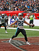 Carolina Panthers running back Christian McCaffrey (22) completes after scoring on a 25-yard touchdown reception in for his  second touchdown during the second quarter of an NFL International Series game against the Tampa Bay Buccaneers at Tottenham Hotspur Stadium, Sunday, Oct. 13, 2019, in London.  The Panthers defeated the Buccaneers 37-26. (Gareth Williams/Image of Sport)